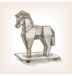 Trojan horse sketch style vector image