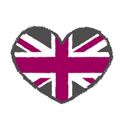 British flag t shirt typography heart vector image vector image