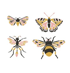 Bumblebee butterfly mol apanteles Insect icons set vector image vector image