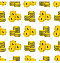 dollar gold coins currency bank finance vector image