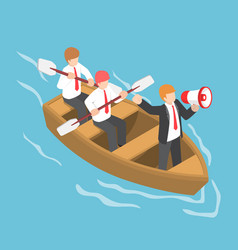 isometric businessman in rowing team with leader vector image