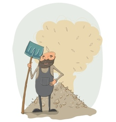 Janitor with a shovel vector image