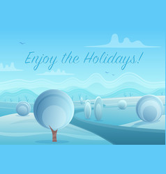 merry christmas and happy new year poster enjoy vector image