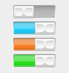 on and off slider buttons off and on colored vector image vector image