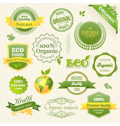 Organic Food Eco Bio Labels and Elements vector image