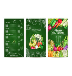 vegetarian restaurant menu template on chalkboard vector image