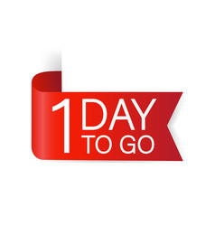 1 day to go red label red web ribbon isolated vector