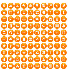 100 motherhood icons set orange vector