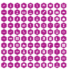 100 war crimes icons hexagon violet vector