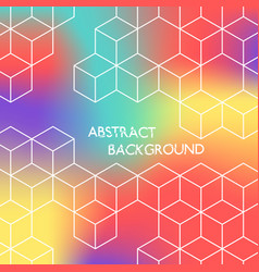 abstract color hexagonal background white cubes vector image