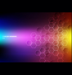abstract light hexagons with nodes digital vector image
