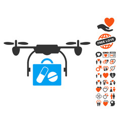 Airdrone pharmacy delivery icon with valentine vector