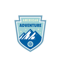 american adventure outdoors - concept badge vector image