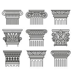 Ancient greek capitals architectural orders vector