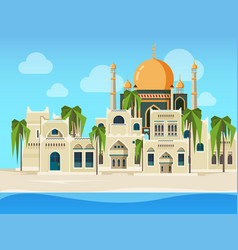 Arabic landscape cultural muslim buildings desert vector