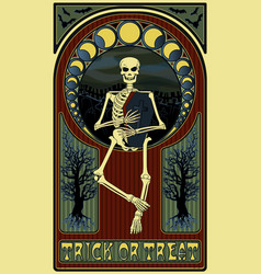 art nouveau invitation card with skeleton coffin vector image