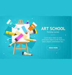 art school concept banner horizontal with vector image
