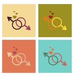 Assembly flat icons gay male symbol vector
