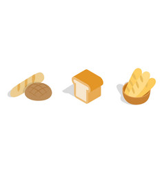 bakery bread icon set isometric style vector image