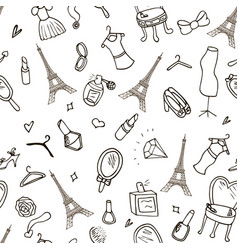 beautiful seamless background paris eiffel tower vector image