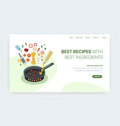 best recipes website landing page design vector image