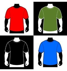 Blank color t-shirt men body silhouette vector