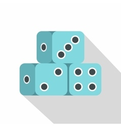 Blue dice cubes icon flat style vector image