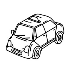cab icon doodle hand drawn or outline icon style vector image