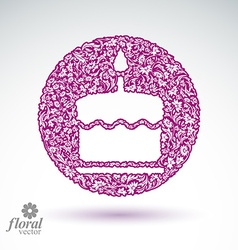 Cake with candle icon vector image