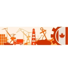 Cargo port Canada flag in gear vector