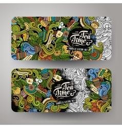 Cartoon line art doodles tea banners vector