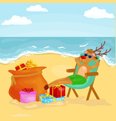 Cartoon reindeer relaxing on chair near bag full vector