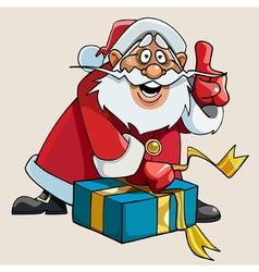 Cartoon santa claus with enthusiasm gift packs vector