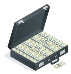 Case full of money on white background Lot of vector