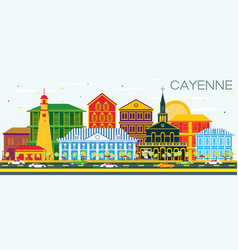 Cayenne city skyline with color buildings and vector