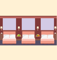Comfortable hostel room interior in a flat style vector