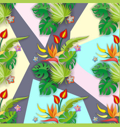 Composition with flowers leaves and abstract vector