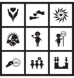 Concept flat icons in black and white friendship vector image