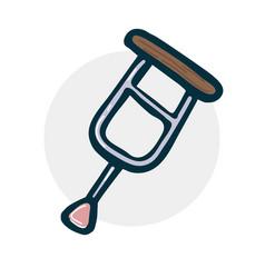 crutch sketch icon vector image
