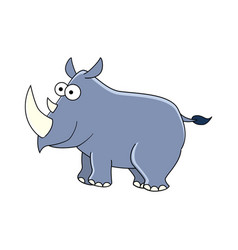 cute cartoon rhinocerus isolated on whit vector image