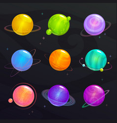 cute colorful glossy planets fantsy colorful vector image