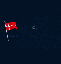 denmark on europe map high quality map europe vector image