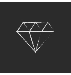 Diamond icon drawn in chalk vector