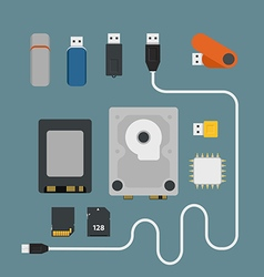 Different memory storage devices vector image