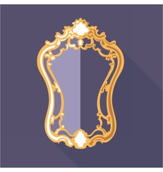 Digital golden and purple vintage mirror vector