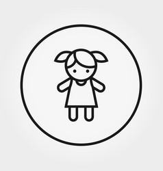 doll toy universal icon editable thin vector image