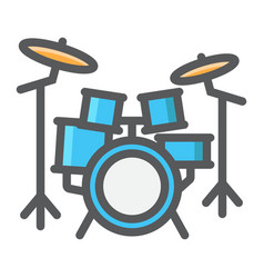Drum kit filled outline icon music and instrument vector