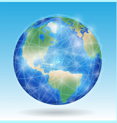earth planet with line network connect vector image