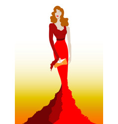 fashion model in red beauty dress sexy woman vector image
