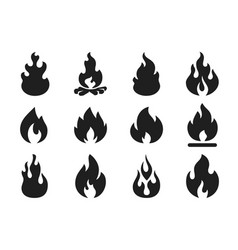 fire flames silhouette flaming campfire hot vector image
